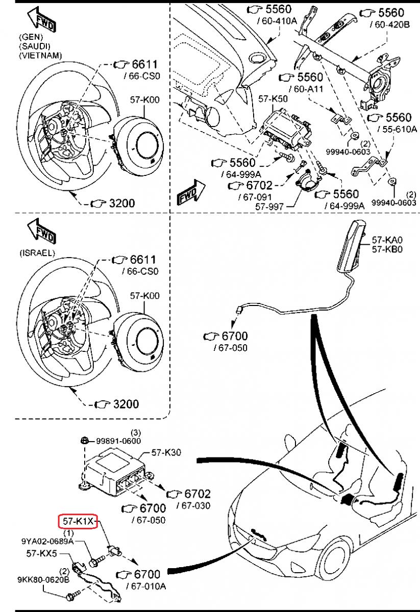 cảm biến kích nổ túi khí mazda 2 2015
